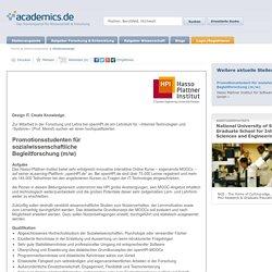 Promotionsstudent für sozialwissenschaftliche Begleitforschung (m/w) - Job-ID 109780