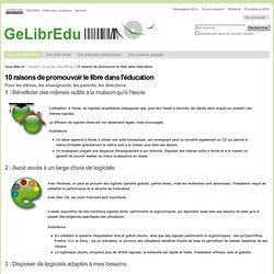 10 raisons de promouvoir le libre dans l'éducation — Site du projet GeLibrEdu