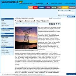 Promulgation d'une nouvelle loi sur l'électricité