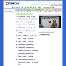 Pronombres personales de objeto directo- ejercicios. El complemento directo en español