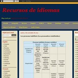 Recursos de idiomas: Les pronoms indéfinis (Los pronombres indefinidos)