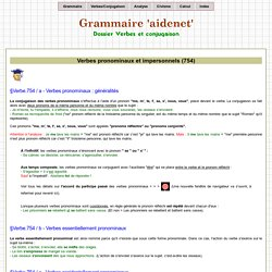 Verbes pronominaux et impersonnels