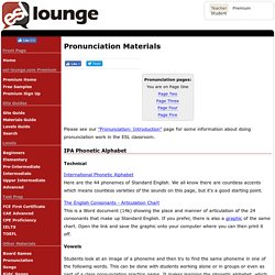 Pronunciation and Phonetics Materials for ESL Teachers, Page One