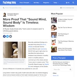 """More Proof That """"Sound Mind, Sound Body"""" Is Timeless Wisdom"""