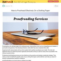 How to Proofread Effectively On a Drafting Paper