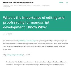 What is the Importance of editing and proofreading for manuscript development ? Know Why?