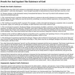 Proofs For And Against The Existence of God
