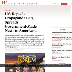 U.S. Repeals Propaganda Ban, Spreads Government-Made News to Americans