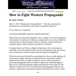 Andre Vltchek: How to Fight Western Propaganda :   Information Clearing House
