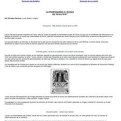 la propagande à l'école de 1914 à 1919 / christian Peureux/ BLPHG n°8 / année 1994 / Datice Lejeune Etienne / juin2000