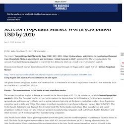 Aerosol Propellant Market Worth 8.16 Billion USD by 2020 - The Business Journals