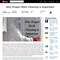 Why Proper Meth Cleaning is Important
