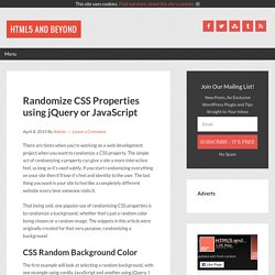 Randomize CSS Properties using jQuery or JavaScript