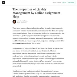The Properties of Quality Management by Online assignment Help