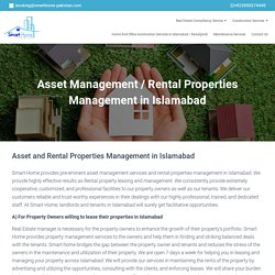 Asset and Rental Properties Management in Islamabad