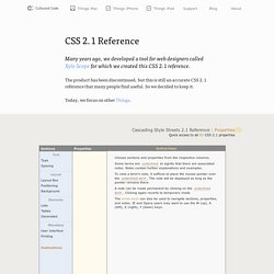 Properties : CSS 2.1 Reference : Cultured Code