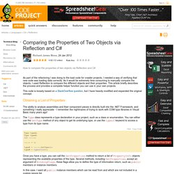 Comparing the Properties of Two Objects via Reflection and C#