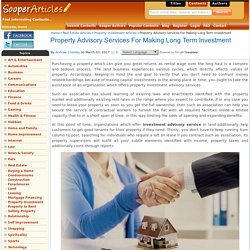 Property Advisory Services For Making Long Term Investment