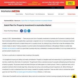 Quick Plan For Property Investment In Australian Market