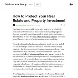 How to Protect Your Real Estate and Property Investment