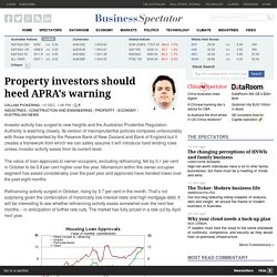 Property investors should heed APRA's warning