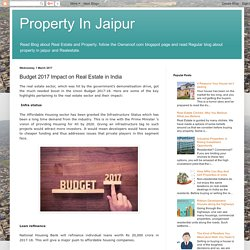 Budget 2017 Impact on Real Estate in India