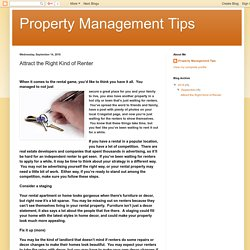 Property Management Tips: Attract the Right Kind of Renter