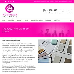 Property Refurbishment Loans UK, Property Refurbishment Finance UK