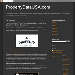 PropertyDataUSA.com: How Information From Propertydatausa.Com Helps Take Correct Investment Decisions?