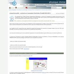 physique chimie - proportionnalité : scénarios et exemples d'activités (TraAM 2010-2011)