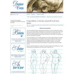 Étude de proportions du corps debout, vu de face, de profil et de trois-quarts