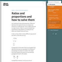 Ratios and proportions and how to solve them (Algebra 1, How to solve linear equations) – Mathplanet