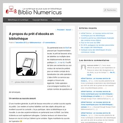 A propos du prêt d'ebooks en bibliothèque