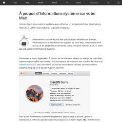 À propos d'Informations système sur votre Mac