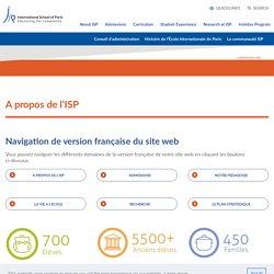 A propos de l'ISP - International School of Paris