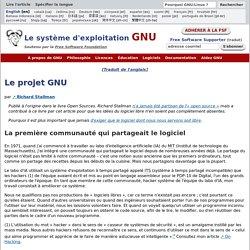 À propos du projet GNU