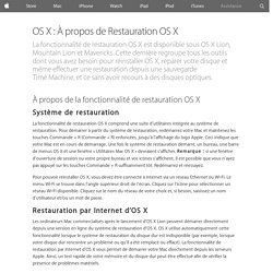 OS X : À propos de Restauration OS X - Assistance Apple