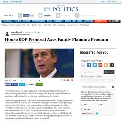 House GOP Proposal Axes Family Planning Program