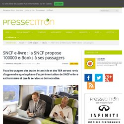 SNCF e-livre : la SNCF propose 100000 e-Books à ses passagers