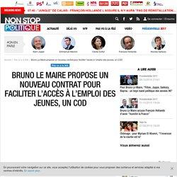 Bruno Le Maire propose un nouveau contrat pour faciliter l'accès à l'emploi des jeunes, un COD