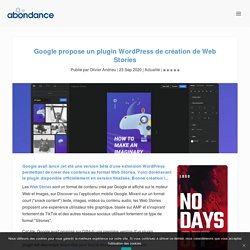 Google propose un plugin WordPress de création de Web Stories