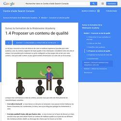 1.4Proposer un contenu de qualité - Centre d'aide Search Console
