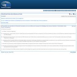 PARLEMENT EUROPEEN 18/06/16 Proposition de résolution du Parlement européen sur les conditions de transport et d'abattage des chevaux destinés à l'alimentation dans l'Union européenne
