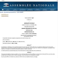 Texte adopté n°607 - Proposition de loi, modifiée, par l'Assemblée nationale, relative au prix du livre numérique