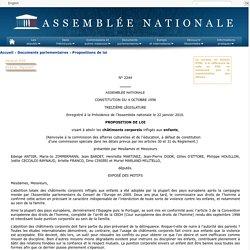 N°2244 - Proposition de loi de Mme Edwige Antier visant à abolir les châtiments corporels infligés aux enfants