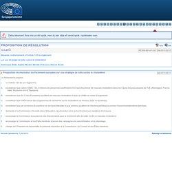 PARLEMENT EUROPEEN 12/03/15 PROPOSITION DE RÉSOLUTION - Proposition de résolution du Parlement européen sur une stratégie de lutte contre le cholestérol