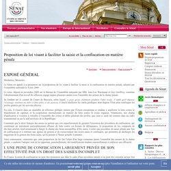 Proposition de loi visant à faciliter la saisie et la confiscation en matière pénale
