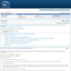 """PARLEMENT EUROPEEN 08/01/13 Rapport sur la proposition de décision du Conseil établissant le programme spécifique d'exécution du programme-cadre pour la recherche et l'innovation """"Horizon 2020"""" (2014-2020) (COM(2011)0811 – C7-0509/2011 – 2011/0402(CNS))"""