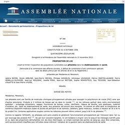 ASSEMBLEE NATIONALE 13/11/12 PROPOSITION DE LOI visant à limiter l'exposition des populations vulnérables aux phtalates dans les