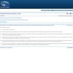 PARLEMENT EUROPEEN 25/06/13 Proposition de résolution du Parlement européen sur la fraude et la falsification alimentaire dans le domaine oléicole